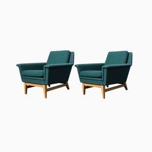Vintage Swedish Oak & Green Wool Club Chairs, 1970s, Set of 2