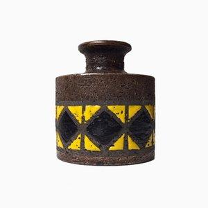 Italienische Mid-Century Steingut Vase mit geometrischem Motiv von Aldo Londi für Bitossi, 1960er