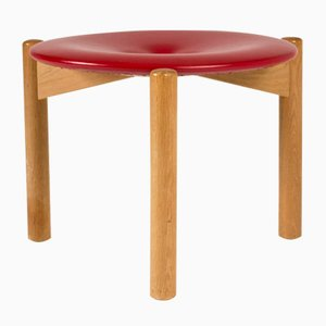 Red Leather Stool by Uno & Östen Kristiansson for Luxus, 1950s