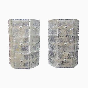 Große Kristallglas Wandleuchten, 1960er, 2er Set