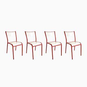 Chaises d'Ecole Rouges Vintage, 1970s, Set de 4