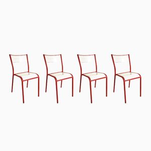 Vintage Red School Chairs, 1970s, Set of 4