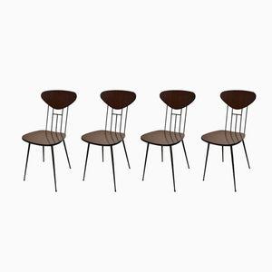 Vintage Italian Wood & Iron Chairs, 1950s, Set of 4