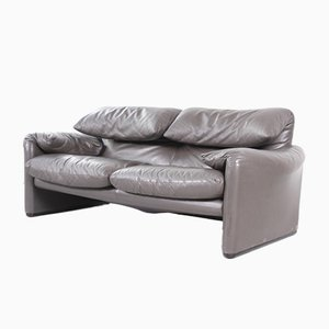 Gray Maralunga 2-Seater Leather Sofa by Vico Magistretti for Cassina, 1970s