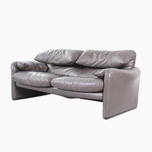 Maralunga 2-Sitzer Sofa aus grauem Leder von Vico Magistretti für Cassina, 1970er