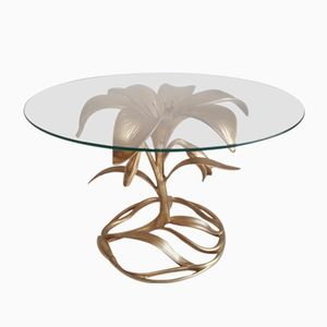 Gold Cast Aluminium Lily Side Table by Arthur Court, 1970s