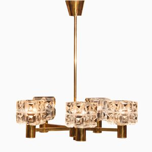 Mid-Century Brass and Crystal Glass Chandelier from Tyringe Konsthantverk, 1950s
