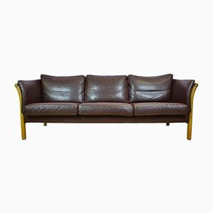 Vintage Danish 3-Seater Sofa in Brown Leather from Skalma, 1970s