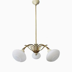 Brass & Opaline Glass Sputnik Chandelier from Stilnovo, 1950s