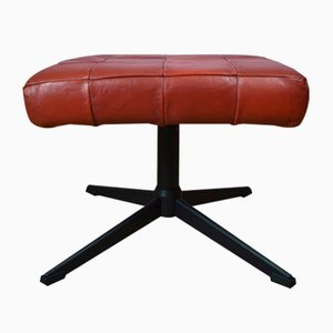 Mid-Century Danish Red Leather Swivel Ottoman, 1970s