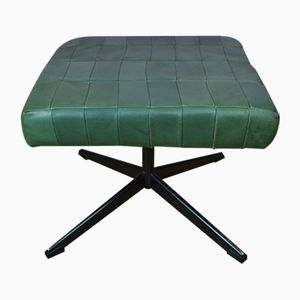 Mid-Century Danish Green Leather Ottoman, 1970s