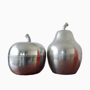 Italian Apple & Pear Aluminum Ice Buckets, 1970s, Set of 2