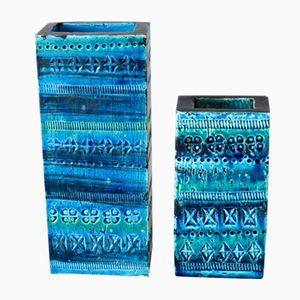 Vintage Italian Rimini Blue Vases by Aldo Londi for Bitossi, Set of 2