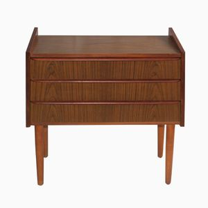 Vintage Danish Teak Nightstand with Veneered Surface