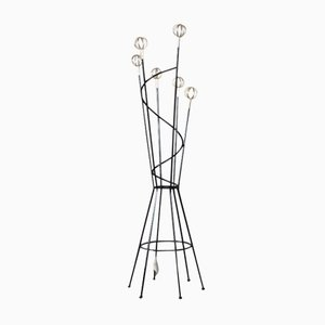 Mid-Century Italian Coat Stand with Brass Details, 1960s