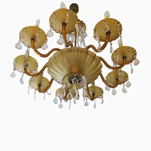 Large Venetian Amber Glass and Brass Eight-Arm Chandelier, 1960s