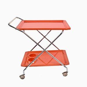 Bar Trolley in Orange Plastic & Chromed Metal, 1950s