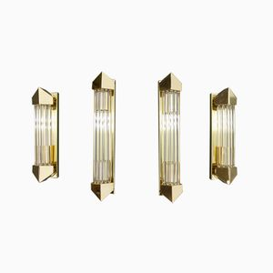 Wall Sconces in Murano Glass and Gilded Brass, 1970s, Set of 4