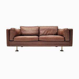 V11 2-Seater Sofa in Dark Brown Leather with Steel Legs by Illum Wikkelsø for Ryesberg Møbler, 1960s