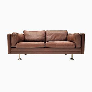 V11 2-Sitzer Sofa in dunkelbraunem Leder mit Stahlfüßen von Illum Wikkelsø für Ryesberg Møbler, 1960er