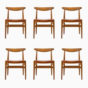 Vintage W2 Dining Chairs by Hans J. Wegner for Carl Hansen & Søn, Set of 6