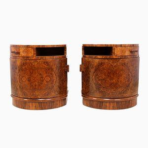 Comodini impiallacciati in legno di noce, anni '30, set di 2