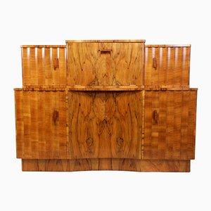 Credenza con mobile bar in legno di noce scanalato, anni '30