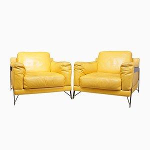 Vintage Stühle aus Leder & Chrom von Roche Bobois, 1980er, 2er Set
