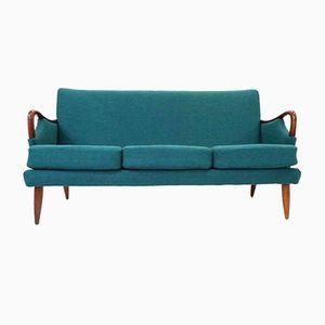 Norwegisches Vintage 3-Sitzer Sofa mit Wollbezug in Türkis, 1950er