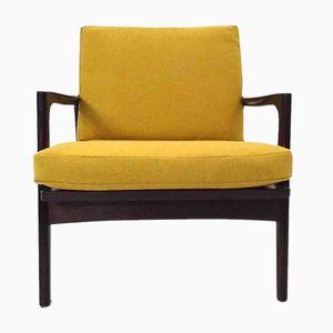 Danish Yellow Wool & Dark Teak Armchair, 1960s
