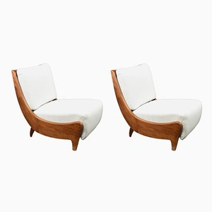 Italian Wooden Lounge Chairs, 1930s, Set of 2