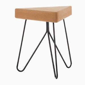 Três Stool in Light Cork with Black Legs by Mendes Macedo for Galula
