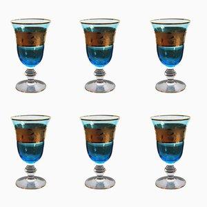 Österreichische Vintage Weingläser in Blau & Gold, 6er Set