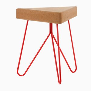 Três Stool in Light Cork with Red Legs by Mendes Macedo for Galula