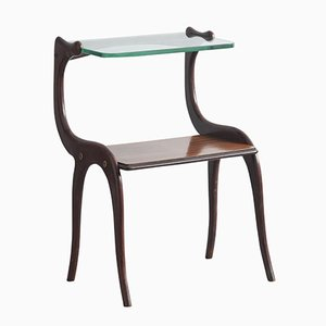 Rosewood Side Table with Glass Top by Osvaldo Borsani, 1950s