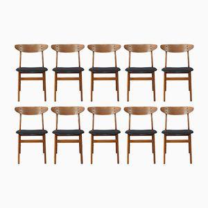Dänische Vintage Teak Esszimmerstühle, 10er Set