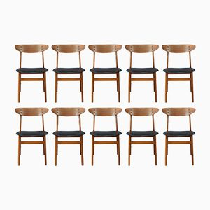 Vintage Danish Teak Dining Chairs, Set of 10
