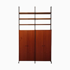 Modular Shelving Unit in Rosewood and Brass, 1950s