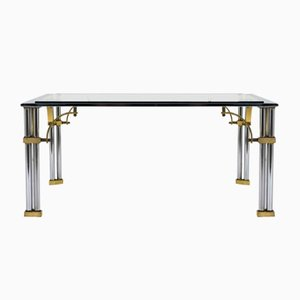 Square Mid-Century Chrome & Brass Coffee Table, 1960s