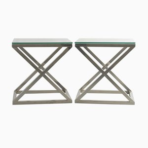 Vintage Italian Chrome and Glass Side Tables by Willy Rizzo, 1970s, Set of 2