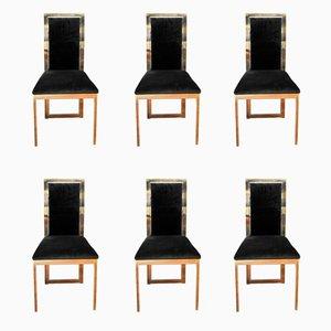 Messing & Chrom Stühle, 1970er, 6er Set