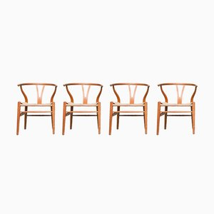 Vintage Danish CH24 Wishbone Chairs by Hans Wegner for Carl Hansen & Son, Set of 4