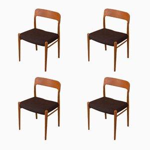 Model 75 Chairs by Niels O. Møller for J.L. Møllers, 1950s, Set of 4