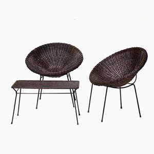Mid-Century Italian Rattan Armchairs & Table Set, 1950s