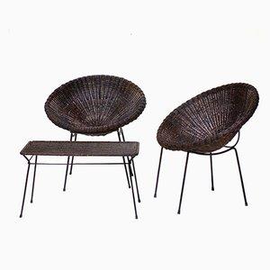 Mid-Century Rattan Armlehnsessel & Tisch Set von Carlo Graffi, 1950er
