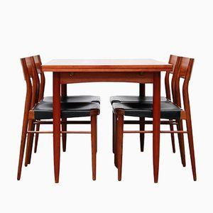 Vintage 351 Dining Chairs and Table in Teak and Leather by Georg Leowald for Wilkhahn