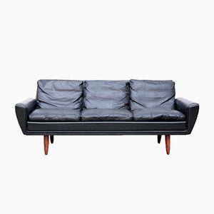 Schwarzes 3-Sitzer Sofa von Georg Thams, 1964