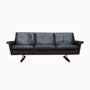 Mid-Century Leather & Chromed Steel Sofa