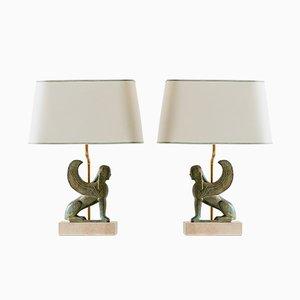 Maison Le Dauphin Sphinx Table Lamps, France, 1970s, Set of 2