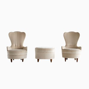 Bijou Chairs and Ottoman Set by Paolo Buffa, 1940s